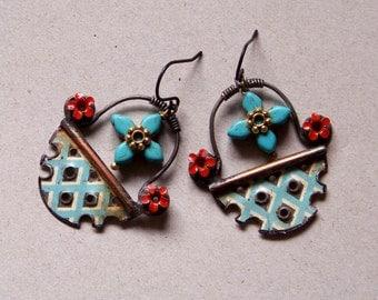 Recycled  tin earrings, bone beads    *834