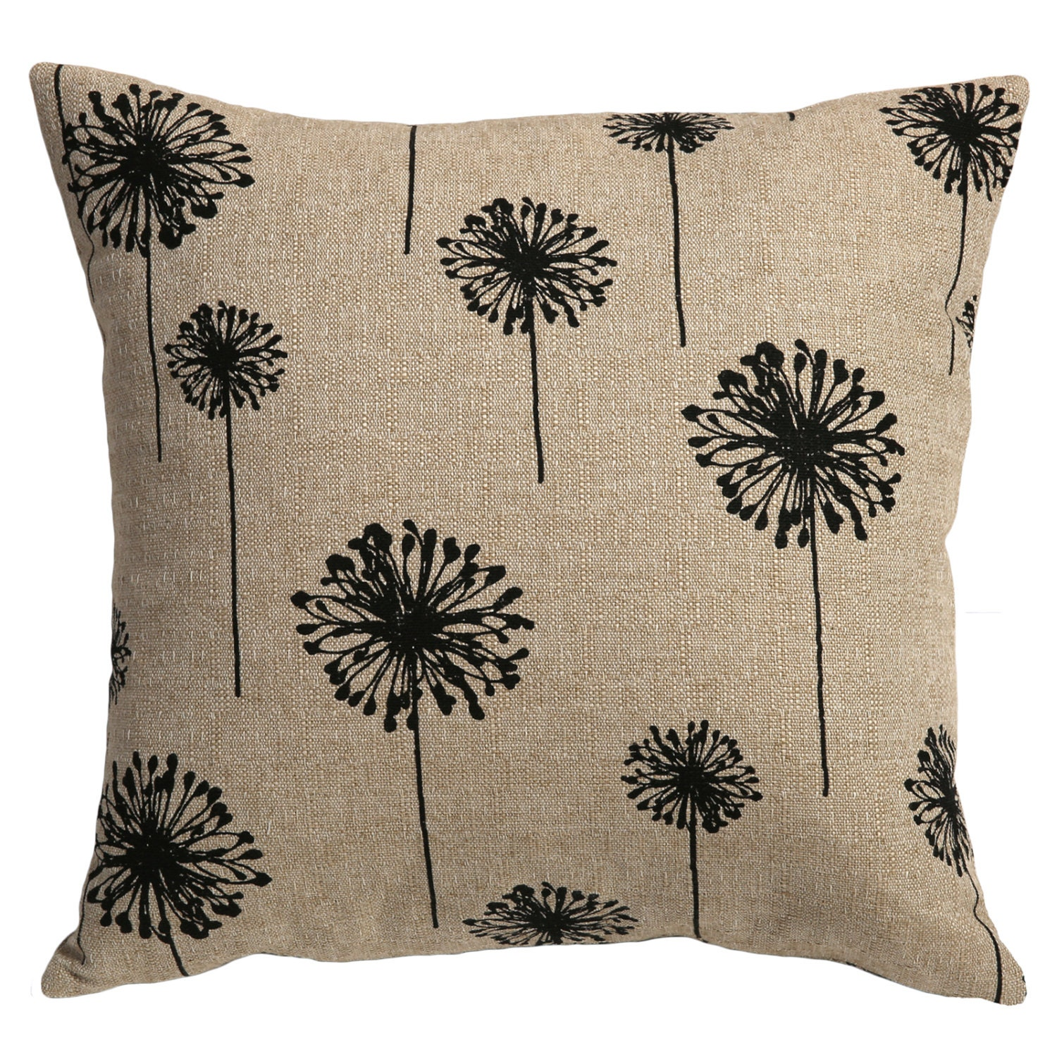 One Decorative Zipper Pillow Cover Black Dandelions by Pillomatic