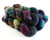 Hand Dyed Sock Yarn, Superwash Merino Wool, Colorful Variegated Blue Green Gold