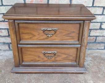 Vintage Paint to Order Oak Nightstand, 2 Drawer Side Table, Custom Painted, End Table, Bed Side Table, Nightstand with Storage, Shabby Chic