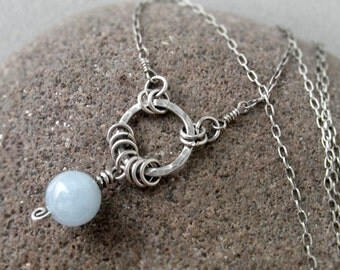 Aquamarine Hoop Necklace, March Birthstone, Rustic, Boho, Sterling Silver, Gold, Throat Chakra, Inner Power gemstone, hammered, oxidized