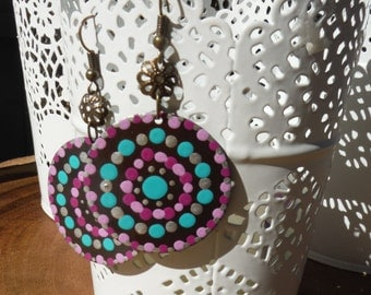 Hand Painted Mandala Earrings