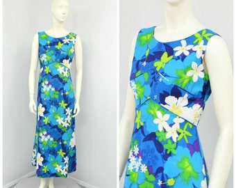 Vintage 60s Blue Hawaiian Dress, Floral Dress, Maxi Dress, A Line Dress, Empire Waist Dress, Sleeveless Summer Dress, Resort Wear