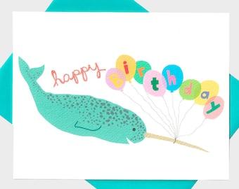Happy Birthday Card - Narwhal Birthday Card - Narwhal Card - Happy Birthday Card - Cute Narwhal - Narwhale - Blank Card
