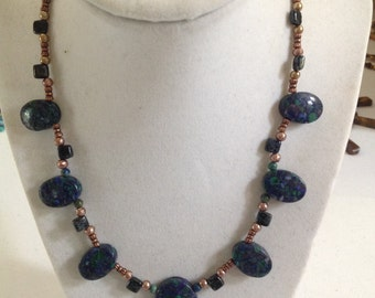 Necklace Blue Green Sediment Jasper Copper #74