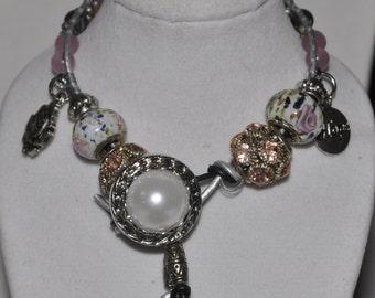 SALE! Wrap Bracelet Pink Grey Silver Black Beaded #531