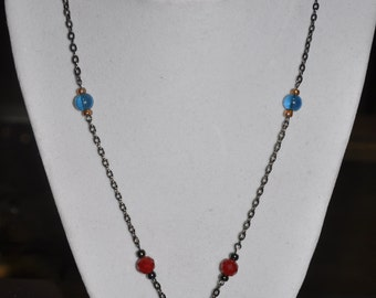 Necklace Silver Bead Cage Red Blue Green #38