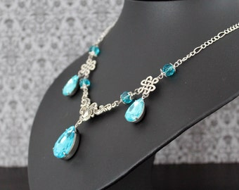 Sparkle necklace - aqua silver