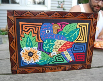 Mola Kuna Bird Hand Made Quilted in Carved Wood Frame Panama