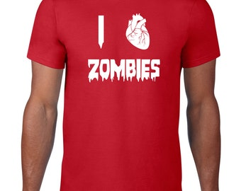 I Love Zombies TShirt, Horror TShirt, I Heart Zombies T Shirt, Funny T Shirt, Zombie Tee, Horror T Shirt, Graphic Tee, Mens Plus Size