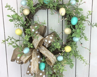 Easter Egg Wreath, Egg Door Hanger, Egg Wreath,Ester Door Hanger, Easter Wreath, Double Door Wreath, Spring Wreath, Natrural Easter Wreath