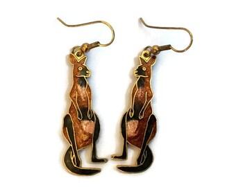Kangaroo Earrings Cloisonne Jewelry Cloisonne Enamel Marsupial Kanga Dangle