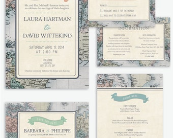 Rustic & Vintage Travel Theme Wedding Invitation