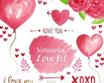 love Watercolor clipart, heart clipart, valentines day clipart ,pink clip art, love clip art, digital clipart, lovely clipart, pink clipart