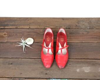 Vintage Italian Leather Red Heels, Pumps, Vintage Heels, Red Pumps, Mid Century Pumps