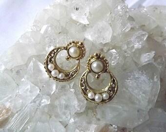 Vintage Earrings 1928 Earrings Door Knocker Style Gold Tone Earrings Pearl Earrings Wedding Jewelry Filigree Earrings Drop Hoop Earrings