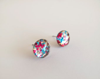 Multicolor Sparkly Round Stud Earrings - Hypoallergenic Surgical Steel Posts