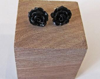 Black - Rose Flower Stud Earrings - Hypoallergenic