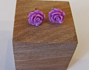Lilac - Rose Flower Stud Earrings - Hypoallergenic