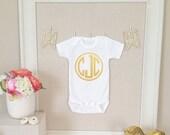 Baby Onesie - Monogram Personalized Customized Baby Name Initials