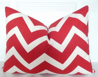 Red Stripe Pillow Cover - Red Lumbar Pillow  12 x 16  Accent Pillow - Red Throw Pillow  Small  Pillow Red & Ivory Chevron