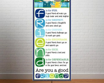 FRIENDS - Banner / Large  / Are You A Good FRIEND? / Nautical - lime, pink , red / Owls / Pirates