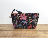 Black Floral Linen Canvas Cosmetic Bag, Bridesmaid Gift, Holiday Gift, Botanical Canvas Pouch, Pencil Case, Black Floral Travel Bag