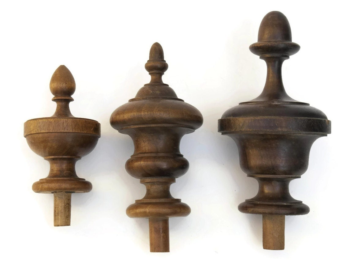 Antique Wood Finials French Furniture Ornaments