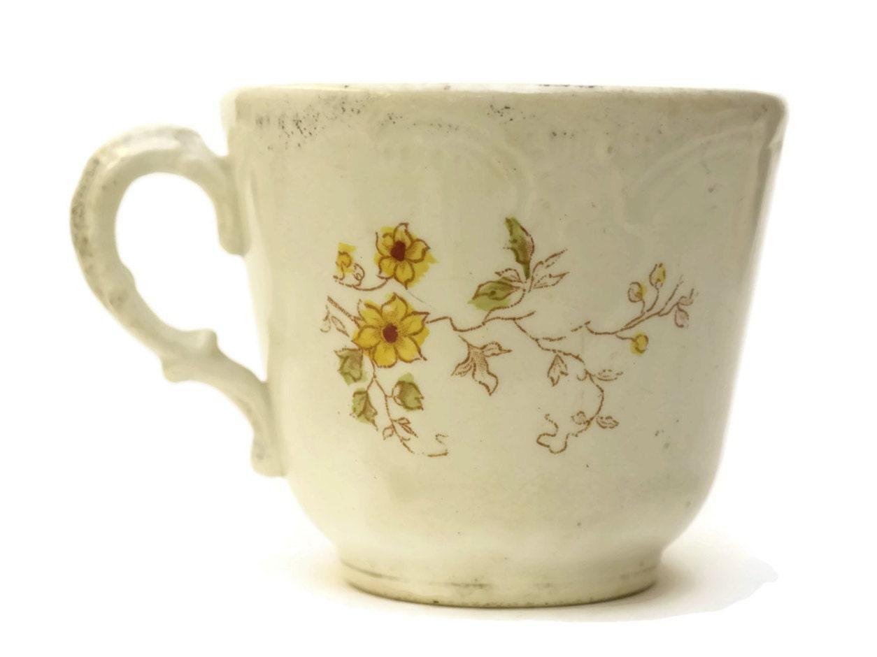 Antique German Pottery Mustache Cup Flower Transferware