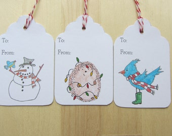 Illustrated Holiday Gift Tags, Set of 9 All Occasion Gift Tags, Hedgehog Snowman Bluebird in Wellies Illustrations, Hand Drawn Gift Labels