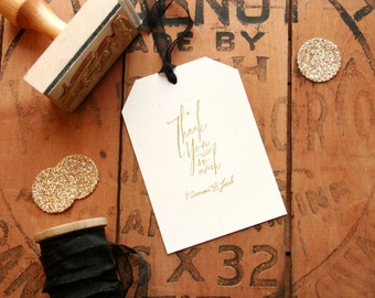 Calligraphy Favor Thank You Stamp - Custom Wedding Rubber Stamp with Names - Hand Writing Script Thank You Stamp