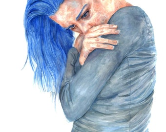 Arduous Ocean Girl Watercolor Painting