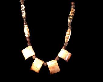 Vintage African Bone Necklace - Batik Beads - Boho Tribal Necklace