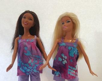 Handmade Barbie doll Batik Top.  Barbie clothes.  Barbie doll summer outfits. Fashion Dolls. Handmade shirt.  Batik Shirt.  Handmade Batik.