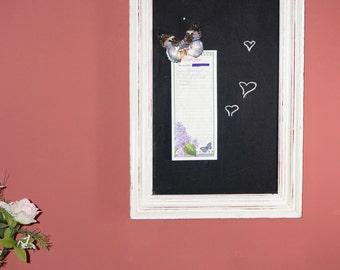 Handmade Chalkboard in Distressed White Frame