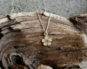 Sterling Silver Hibiscus Necklace, Flower, Silver Necklace, Flower Necklace, Tiny Silver Necklace