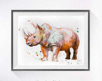 Rhino 3 watercolor painting print, Rhinoceros art, safari art, safari animal, illustration, animal watercolor, animal poster, Rhino art