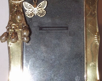 "Gold and Pearl Jeweled Picture Frame, using vintage jewelry. 2"" x 3"". Gold frame.  Gold decor, faux pearls, butterfly.  .#68"