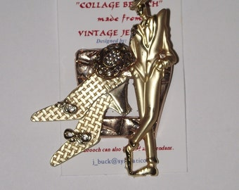 Fashion Theme. 1-of-a-Kind collage brooch / pendant, made from recycled vintage jewelry. Rhinestones, model, gold, shoes. #91.