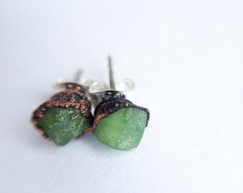 Green Garnet earrings | Green Garnet stud earrings | Green Garnet studs | January Birthstone earrings | January Birthstone jewelry