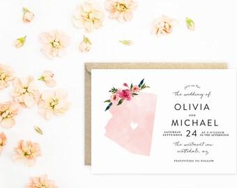 Arizona Wedding Invitations, State Invitations, Watercolor with Flowers