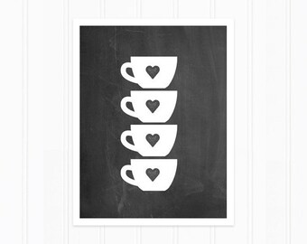 Teacup Print - Chalkboard Art Print - Stacked Teacups with Hearts - Tea Love Print