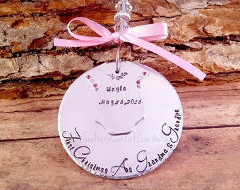 Personalized Christmas Ornament - Babys First Christmas - First Christmas as Grandma and Grandpa - Hand Stamped - Personalized - Gift - Tree
