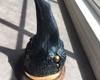 Deep Raven mounted faux taxidermy
