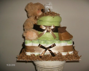 2 tier square cake with goodies