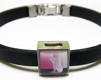 Ballet Slippers Link With Choice Of Colored Band Charm Bracelet