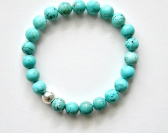 Turquoise Statement Bracelet in Sterling Silver / natural raw stones / aqua blue mint