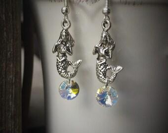 Silver Mermaid Earrings With Swarovski AB Crystal Rivoli Accents