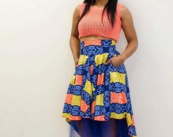 Ankara Skirt / African Print Skirt /African Print High Low Skirt / High Low Ankara Skirt