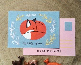 Sleeping Fox Illustration 'thank you' card